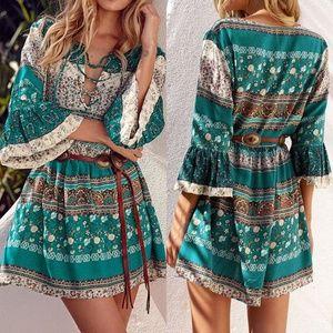 Dresses & Skirts - CUTE Boho Short 3/4 Sleeve Ruffled MIni Dress